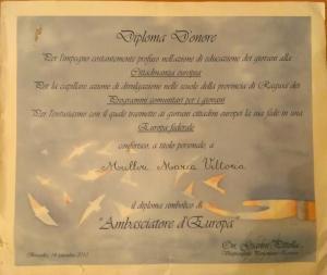 DIPLOMA AMBASCIATRICE D'EUROPA: Prof.ssa MARIA VITTORIA MULLIRI